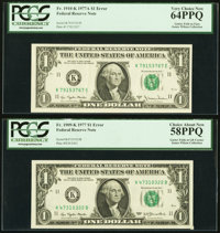 Gutter Fold Errors Fr. 1909-K $1 1977 Federal Reserve Note. PCGS Choice About New 58PPQ and Fr. 1910-K $1 1977A Federal...