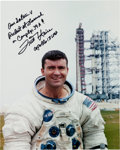 Autographs:Celebrities, Fred Haise Signed Apollo 13 Launchpad Spacesuit Color Photo....(Total: 2 Items)