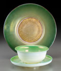 Art Glass:Tiffany , Tiffany Studios Favrile Glass Plate with Bowl and Saucer.Including experimental plate. Circa 1910. Variousengravings.... (Total: 3 Items)