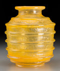 Art Glass:Daum, Daum Art Deco Yellow Mottled Glass Vase. Circa 1930. Wheel carvedDAUM, (Cross of Lorraine), NANCY, FRANCE. Ht. 7-1/2 in.. ...