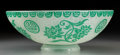 Art Glass:Steuben, Carder Steuben Acid-Etched Jade over Alabaster Glass ChineseBowl. Circa 1920. Ht. 3-5/8 x Di. 10 in.. ...