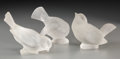Art Glass:Lalique, Three Lalique Frosted Glass Pinson Ornaments. Circa 1955.Engraved Lalique, France. Ht. 3-3/4 in. (tallest)... (Total:3 Items)