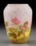 Art Glass:Daum, Daum Mottled Overlay Glass Rose Vase. Circa 1910. EngravedDAUM, (Cross of Lorraine), NANCY. Ht. 6-1/2 in. . ...