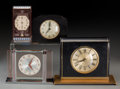 Timepieces:Clocks, Four Art Deco Desk Clocks. Circa 1930-1950. Various marks.. Ht. 5-3/4 x 7-3/4 x 3 in. (largest). ... (Total: 4 Items)