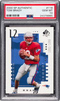 Football Cards:Singles (1970-Now), 2000 SP Authentic Tom Brady (#'d 1051/1250) #118 PSA Gem Mint 10....