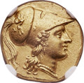 Ancients:Greek, Ancients: SICILY. Syracuse. Agathocles (317-289 BC). AV stater, octobol or double-decadrachm (18mm, 5.70 gm, 2h). NGC MS ★ 5/5 - 4/...