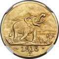 German East Africa, German East Africa: German Colony. Wilhelm II gold 15 Rupien 1916-T MS65 NGC,...