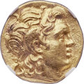 Ancients:Greek, Ancients: THRACIAN KINGDOM. Lysimachus (305-281 BC). AV stater(19mm, 8.51 gm, 4h). NGC MS ★ 5/5 - 5/5, Fine Style....