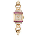 Estate Jewelry:Watches, Retro Swiss Lady's Diamond, Synthetic Ruby, Gold Watch. ...