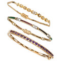 Estate Jewelry:Bracelets, Diamond, Multi-Stone, Gold Bracelets. ... (Total: 3 Items)