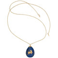 Estate Jewelry:Pendants and Lockets, Lapis Lazuli, Gold Pendant-Necklace. ...