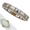 Estate Jewelry:Lots, Opal, Synthetic Sapphire, Platinum-Topped Gold, White Gold Jewelry. ... (Total: 2 Items)