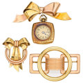 Estate Jewelry:Brooches - Pins, Retro Gold Brooches. ... (Total: 3 Items)