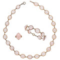 Estate Jewelry:Suites, Rose Quartz, Enamel, 14k Gold Suite. ... (Total: 3 Items)