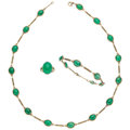 Estate Jewelry:Suites, Chrysoprase, Enamel, Gold Suite. ... (Total: 3 Items)