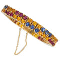 Estate Jewelry:Bracelets, Sapphire, Ruby, Gold Bracelet. ...