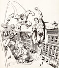 Original Comic Art:Covers, John Byrne Ithaca Journal Leisure Section Cover Spider-Man,Hulk, Superman, and Batman Original Art da...