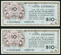 Military Payment Certificates:Series 461, Series 461 $1 Two Examples Very Fine or Better.. ... (Total: 2 notes)