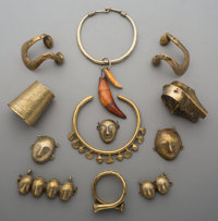 A Group of African or Asian Brass Jewelry Pieces
