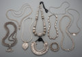 Tribal Art, Nine Indian and Southeast Asian Silver and Silver-PlatedNecklaces...