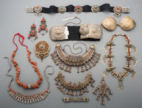 A Large Group of Pakistani and Tibetan Coral and Silvered Metal Jewelry