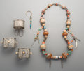 Tribal Art, Five Various Turkoman Coral, Turquoise, Bone, and Natural PearlJewelry Pieces. ... (Total: 5 Items)