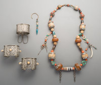 Five Various Turkoman Coral, Turquoise, Bone, and Natural Pearl Jewelry Pieces