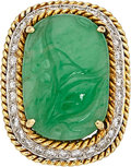 Estate Jewelry:Rings, Jadeite Jade, Diamond, Gold Ring . ...