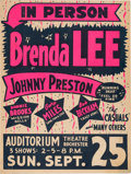 Music Memorabilia:Posters, Brenda Lee/Johnny Preston Auditorium Theatre Concert Poster (1960). Very Rare....
