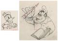 Animation Art:Production Drawing, The Autograph Hound Donald Duck and Studio Cop AnimationDrawings Group of 2 (Walt Disney, 1939). ... (Total: 2 )
