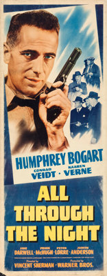 "All Through the Night (Warner Brothers, 1942). Insert (14"" X 36"")"