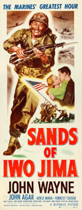 "Movie Posters:War, Sands of Iwo Jima (Republic, 1950). Insert (14"" X 36"").. ..."