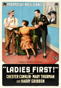 """Movie Posters:Comedy, Ladies First (Paramount, 1918). One Sheet (28"""" X 41"""").. ..."""