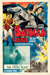 """The New Adventures of Batman and Robin (Columbia, 1949). One Sheet (27"""" X 41"""") Chapter 7 -- """"The Fatal Bl..."""