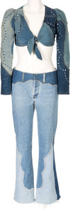 Music Memorabilia:Costumes, Linda Thompson Jean Ensemble Worn at Graceland with ElvisPresley,(circa 1975)....