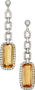 Estate Jewelry:Earrings, Topaz, Diamond, White Gold Earrings. ...