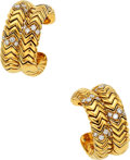 Estate Jewelry:Earrings, Diamond, Gold Earrings, Bvlgari . ...