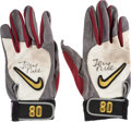 Football Collectibles:Others, 1990's Jerry Rice Game Worn & Signed San Francisco 49ers Receiving Gloves....