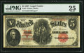 Large Size:Legal Tender Notes, Fr. 87 $5 1907 Legal Tender PMG Very Fine 25.. ...