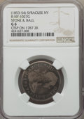 Counterstamps, (1853-54) Syracuse, NY Counterstamp, STONE & BALL, Brunk S-1023, Rulau R-NY-1027G, Good 6 NGC. Incuse Type I counterstamp on...