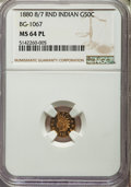 1880/70 50C Indian Round 50 Cents, BG-1067, Low R.4, MS64 Prooflike NGC. NGC Census: (5/4). PCGS Population: (0/0). ...(...
