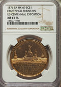 So-Called Dollars, 1876 Centennial Foundation So-Called Dollar, U.S. Centennial Exposition, HK-69, R.6, MS61 Prooflike NGC. Gilt copper....