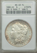 Morgan Dollars, 1880-CC $1 8 Over High 7, VAM-5, MS63 Prooflike ANACS. NGC Census: (218/397). PCGS Population: (278/423)....