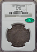 Early Half Dollars, 1807 50C Draped Bust, O-105, T-4, R.1, VF30 NGC. CAC. NGC Census:(11/23). PCGS Population: (3/15). ...