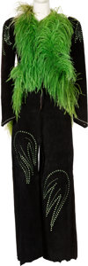 Music Memorabilia:Costumes, Linda Thompson 'Green Feather' Ensemble Worn with Elvis Presley,(circa 1970s)....