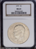 Eisenhower Dollars: , 1971 $1 MS65 NGC. PCGS Population (468/34). NGC Census: (236/15). Mintage: 47,799,000. Numismedia Wsl. Price: $180.(#7406)...
