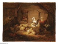 JEAN HONORE FRAGONARD (French 1732-1806) Stable Interior, c. 1770 Oil on canvas 10.5in.x 13.5in. Provenance: Christi