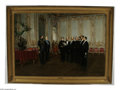 19th Century European:Neoclassical, LOUIS EUGENE LEROUX (French 1833-1905),. Czar Alexander IIReceiving American Diplomats, 1866. Oil on canvas. 31in. x51...
