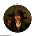 Old Master:German, GERMAN SCHOOL (19th Century). Boy Smoking a Pipe, 1880. Oilon panel. 17.5in. diameter. Inscribed on top edge in German ...