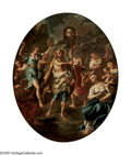 Paintings, EUROPEAN SCHOOL (18th Century). David and Goliath; Judith and Holophernes (pair). Oil on canvas. 29.5in. x 24in. (oval)... (Total: 2 Item)
